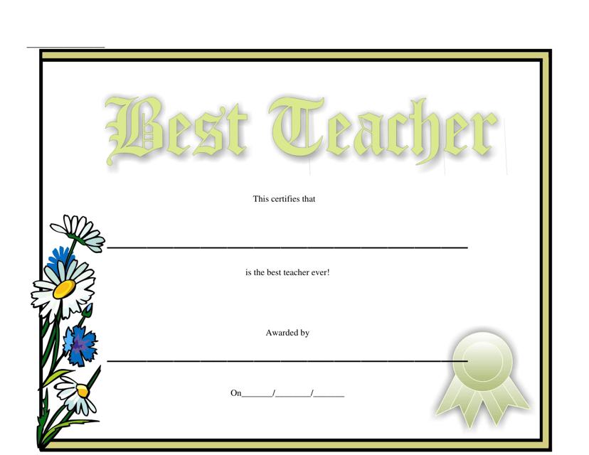 """Best Teacher Certificate Template"" Download Pdf"