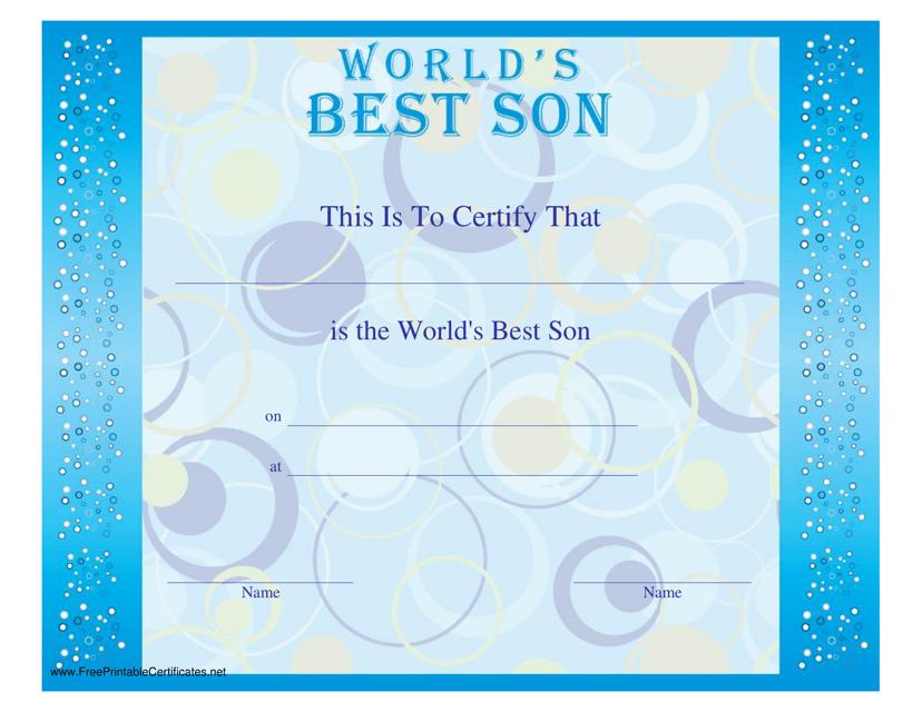 """Best Son Certificate Template"" Download Pdf"