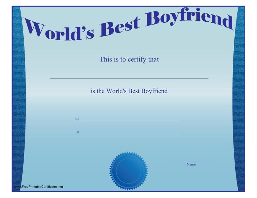 """""""Best Boyfriend Certificate Template"""" Download Pdf"""