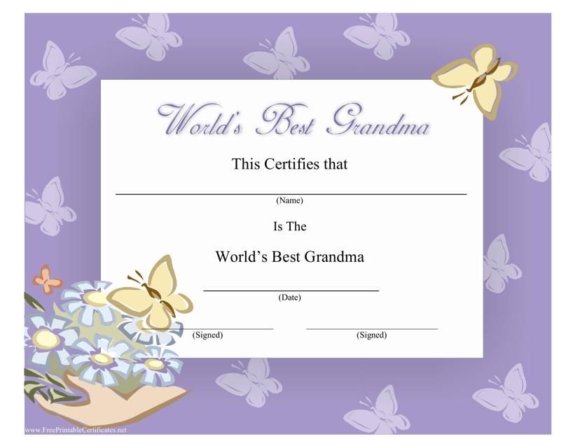 """Best Grandma Certificate Template"" Download Pdf"