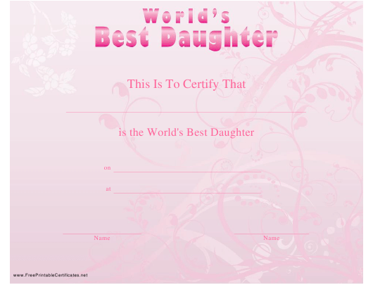 """""""World's Best Daughter Certificate Template"""" Download Pdf"""