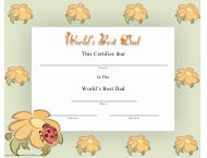 """World's Best Dad Certificate Template"""