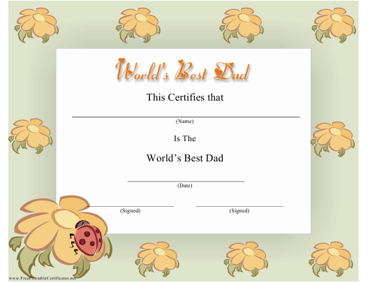"""""""World's Best Dad Certificate Template"""" Download Pdf"""