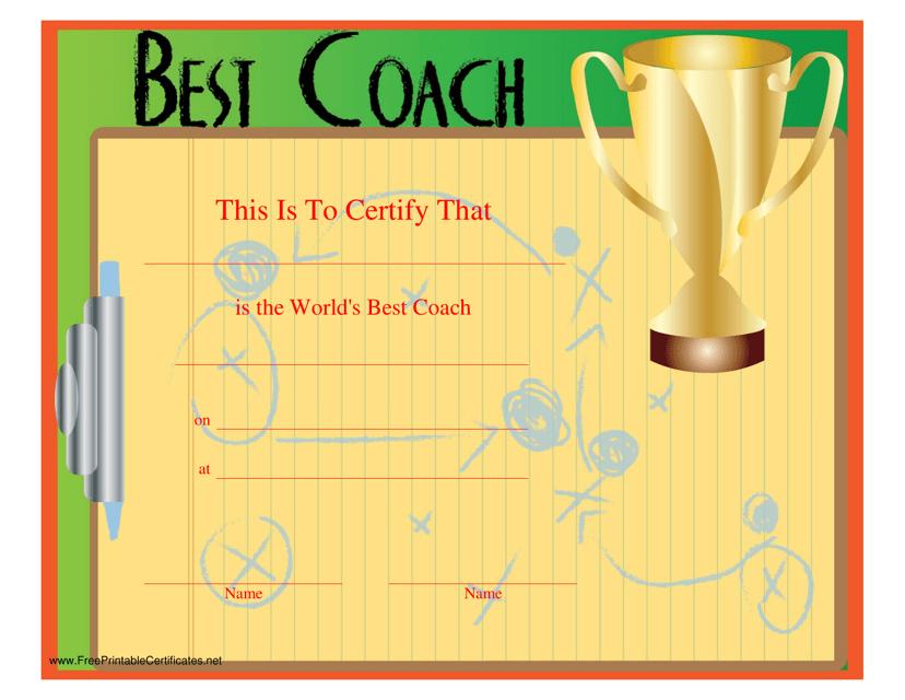 """""""Best Coach Certificate Template"""" Download Pdf"""