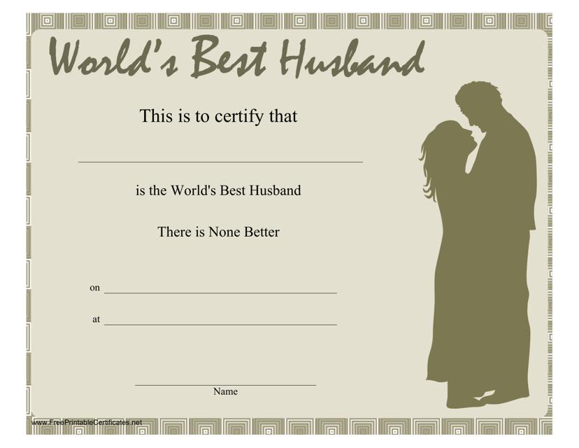 """World's Best Husband Certificate Template"" Download Pdf"