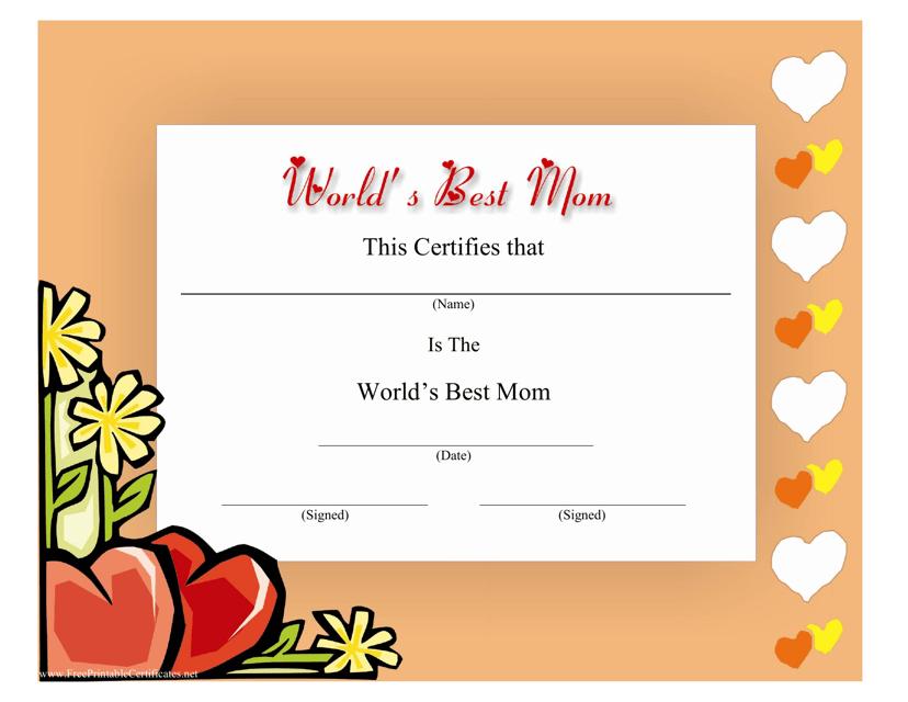 """Best Mom Certificate Template"" Download Pdf"