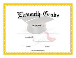 """Eleventh Grade Certificate Template"""