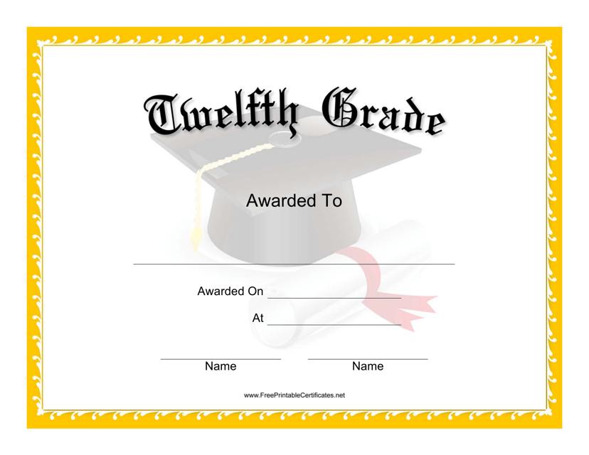 """Twelfth Grade Certificate Template"" Download Pdf"