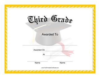 """""""Third Grade Certificate Template"""""""