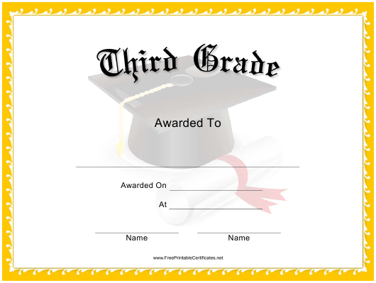 """Third Grade Certificate Template"" Download Pdf"