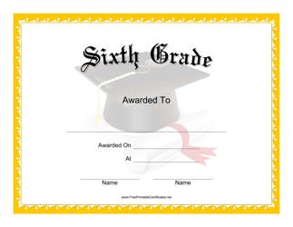 """Sixth Grade Certificate Template"""