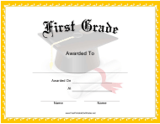 """First Grade Certificate Template"""