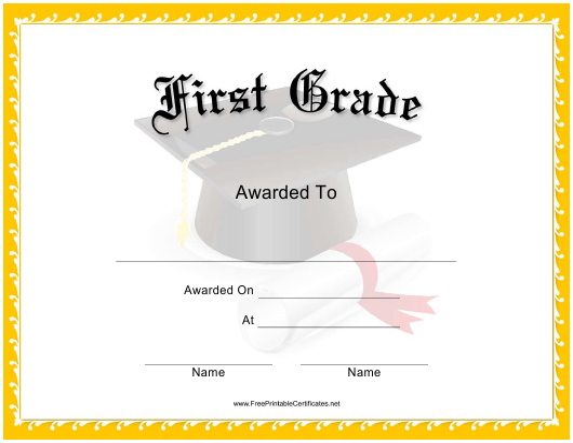 """First Grade Certificate Template"" Download Pdf"