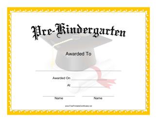 """""""Pre-kindergarten Graduation Certificate Template"""""""