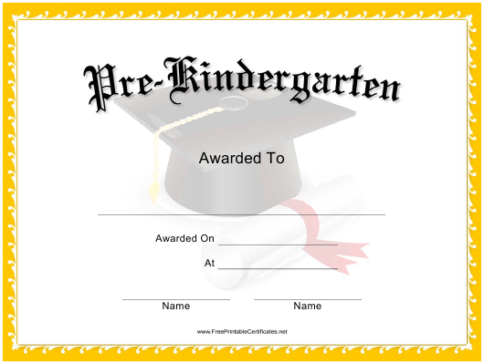 """Pre-kindergarten Graduation Certificate Template"" Download Pdf"