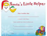 """Santa's Little Helper Christmas Certificate Template"""