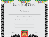 """Lump of Coal Christmas Certificate Template"""