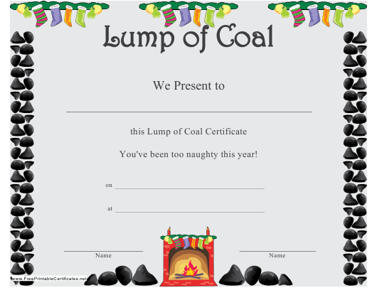 """Lump of Coal Christmas Certificate Template"" Download Pdf"