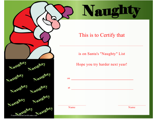 """Santa's Naughty List Christmas Certificate Template"" Download Pdf"