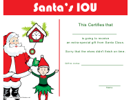 """""""Santa's Special Gift Certificate Template"""""""