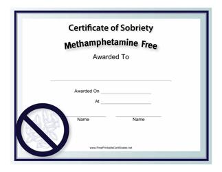 """Methamphetamine-Free Certificate of Sobriety Template"""