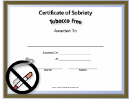 """""""Tobacco Free Certificate of Sobriety Template"""""""