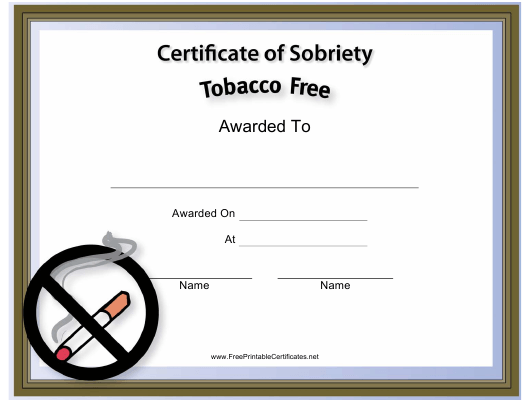 """""""Tobacco Free Certificate of Sobriety Template"""" Download Pdf"""