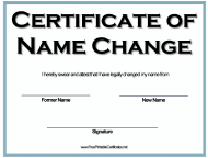 """""""Name Change Certificate Template"""""""