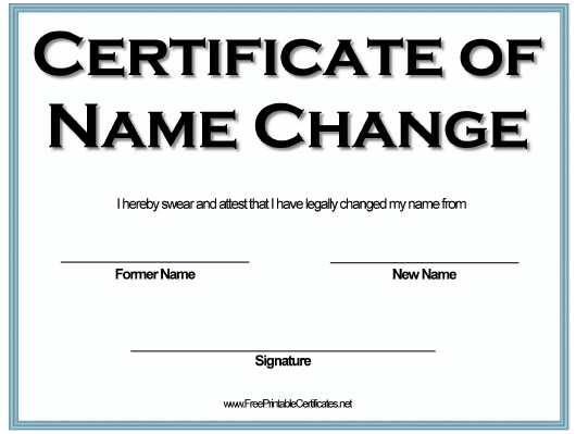 """Name Change Certificate Template"" Download Pdf"