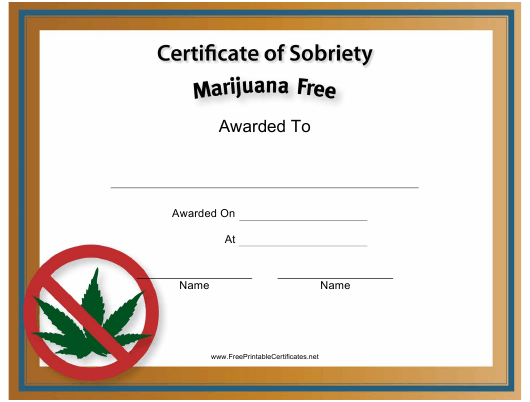 """Marijuana Free Certificate of Sobriety Template"" Download Pdf"
