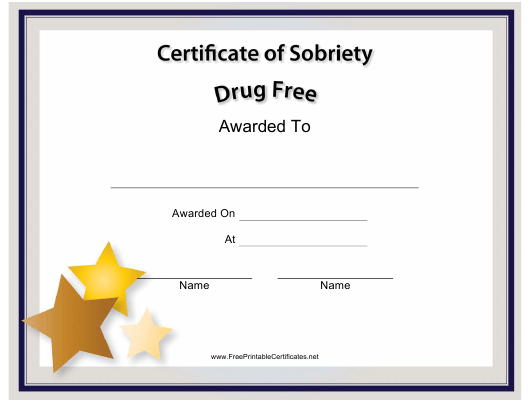 """""""Drug Free Certificate of Sobriety Template"""" Download Pdf"""