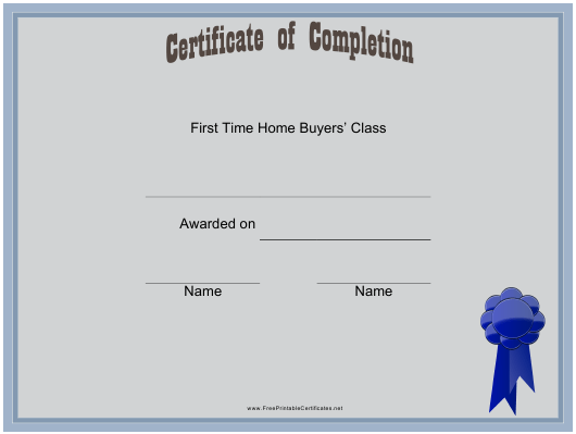 """""""First Time Home Buyers Certificate Template"""" Download Pdf"""