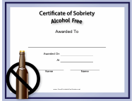 """""""Alcohol Free Certificate of Sobriety Template"""""""