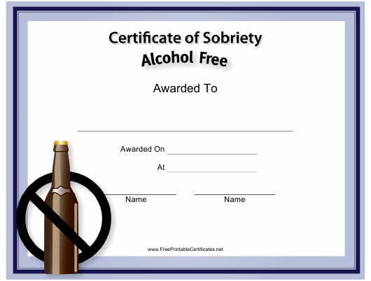 """""""Alcohol Free Certificate of Sobriety Template"""" Download Pdf"""