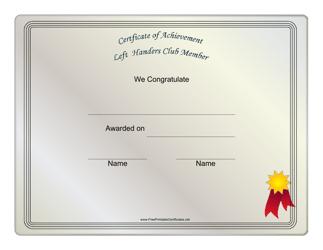 """Left Handers Club Member Certificate Template"""