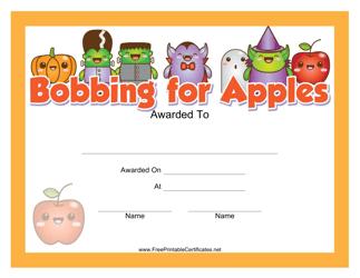 """Halloween Bobbing for Apples Award Certificate Template"""