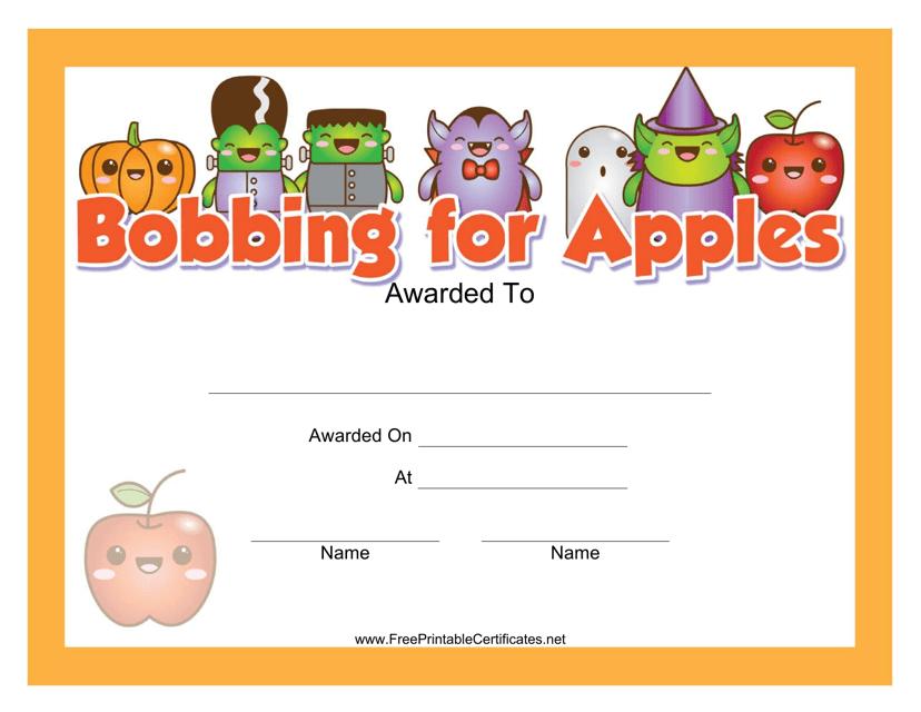 """Halloween Bobbing for Apples Award Certificate Template"" Download Pdf"