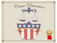 """Crime Prevention Award Certificate Template"""