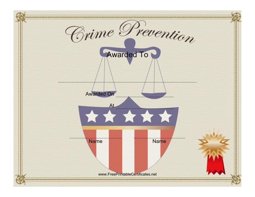"""Crime Prevention Award Certificate Template"" Download Pdf"