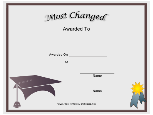 """""""Most Changed Award Certificate Template"""" Download Pdf"""