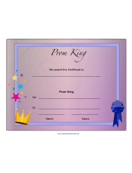 Prom King Certificate Template
