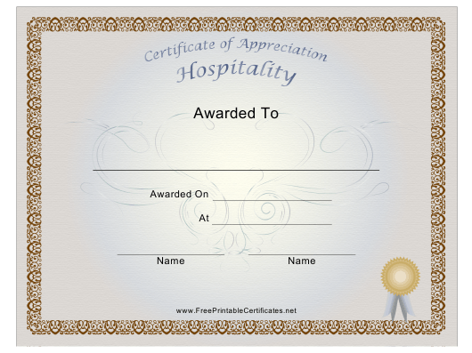 """Hospitality Certificate of Appreciation Template"" Download Pdf"