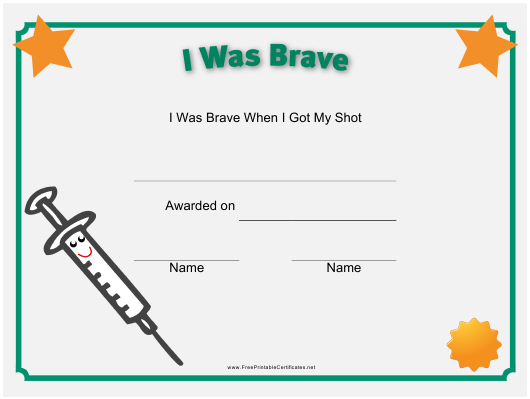 """Short Bravery Certificate Template"" Download Pdf"