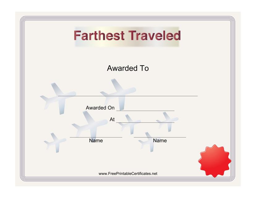 """Class Reunion Farthest Traveled Certificate Template"" Download Pdf"