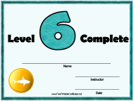 """""""Swimming Lessons - Level Six Certificate Template"""""""