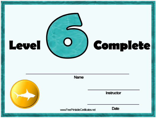 """Swimming Lessons - Level Six Certificate Template"" Download Pdf"