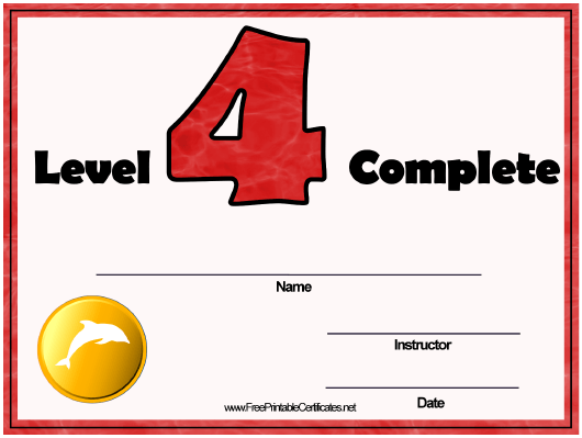"""""""Swimming Lessons - Level Four Certificate Template"""" Download Pdf"""