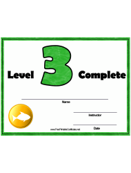 Swimming Lessons - Level Three Certificate Template