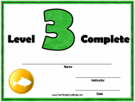 """""""Swimming Lessons - Level Three Certificate Template"""""""
