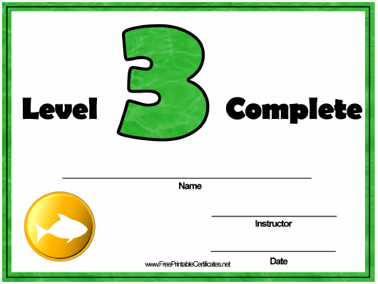 """Swimming Lessons - Level Three Certificate Template"" Download Pdf"